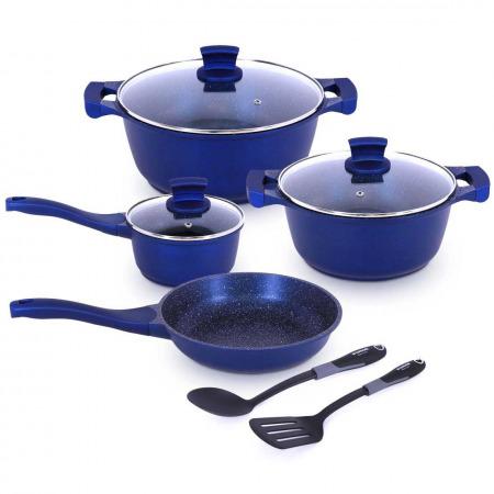9 PCS Granite Cookware Set - Dark Blue