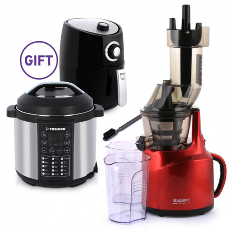 Whole Mouth Slow Juicer Red with 6L Pressure Cooker & 2L Airfryer