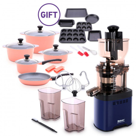 Whole Mouth Slow Juicer JE20 Blue with Dura Cookware & 9 PC Bakeware Set