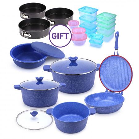 8 PC Wave Cookware Set Blue Granite with Maklouba Set, Storage & Bakeware Set