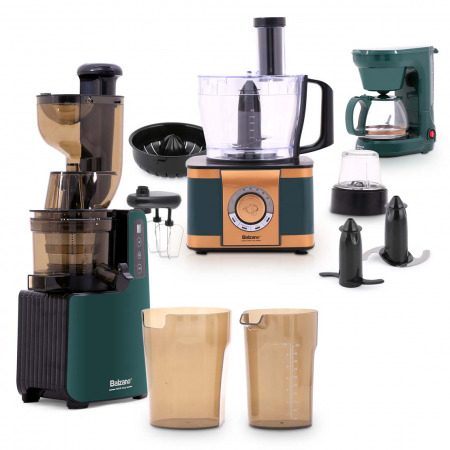 Cold Press Slow Juicer Gardenia Collection with EF408 Food processor & Drip coffee