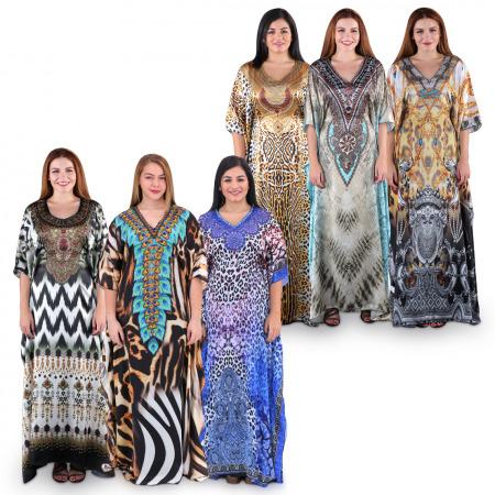 Alya & Asma Printed Jalabiyas - Buy 3 Get 3