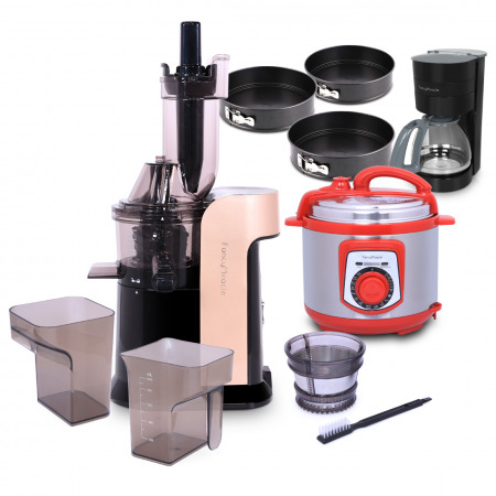 Large Caliber Juicer Gold with Pressure Cooker, Drip Coffee & Bakeware set