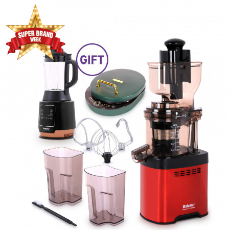 Whole Mouth Slow Juicer JE20 Red with 6in1 Electric Grill Pan & Soup Maker