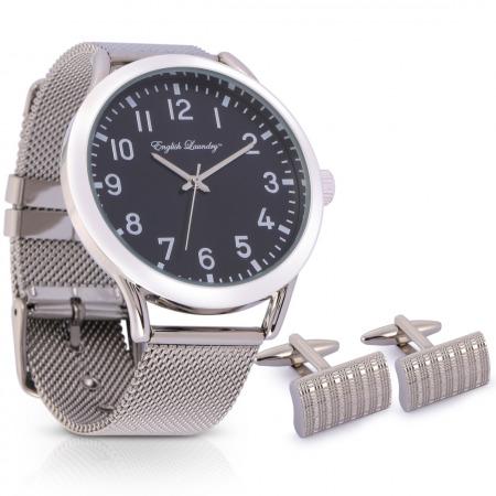 طقم ساعة جنتلمان الجلدية باللون الفضي