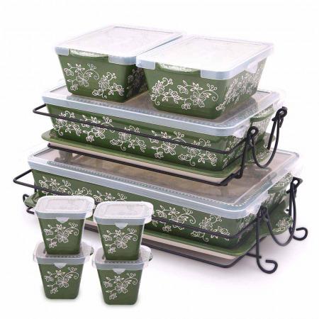 مجموعة صواني وأواني خبز فلورال لاس 20 قطعة - أخضر