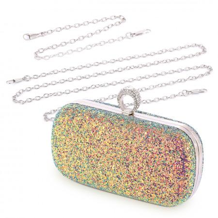 حقيبة سهرة ملونة و مزينة بالكريستال