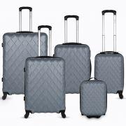 Diamente 5 Piece Luggage Set - Silver