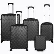 Diamente 5 Piece Luggage Set - Black