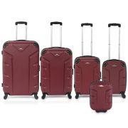 Flash 5pcs Luggage Set Burgundy