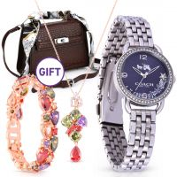 Silver Blue Dial Glitz Bezel Watch & Gifts