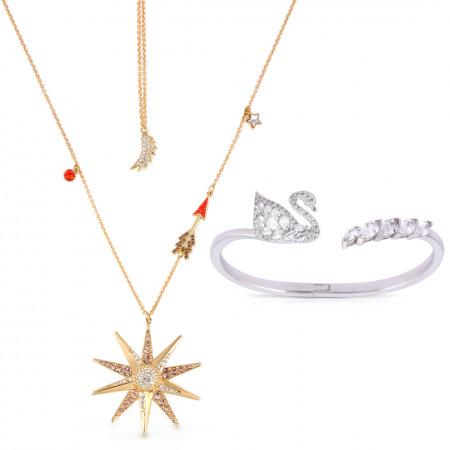 Swarovski Star Necklace & Swan Bracelet