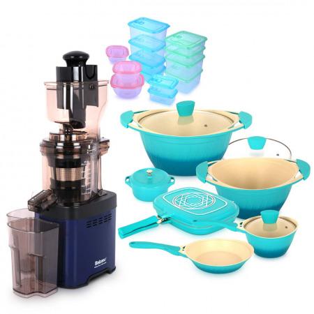 whole mouth Slow Juicer JE20 Blue with Flora Cookware Set & Storage Set