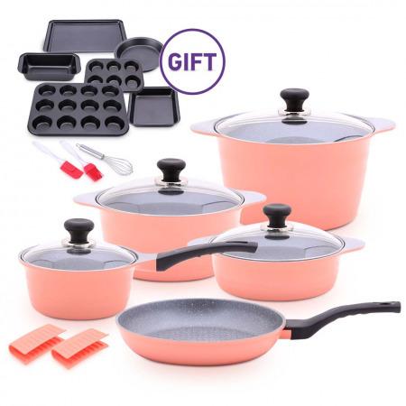 10Pc Dura Cookware Set - Pink & 9Pc Bakeware Set