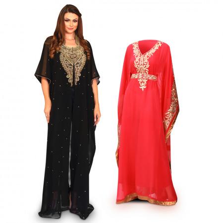 Al Nada Black Bisht & Coral Jalabiya