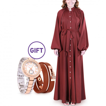 Duha Maroon Dress - L/XL & Gift
