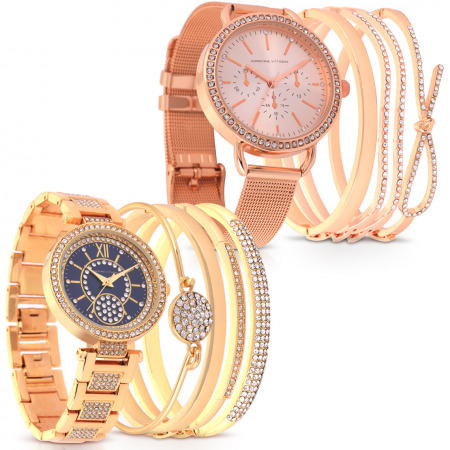 Graceful Set of 2 Watches – Gold & Rose Gold