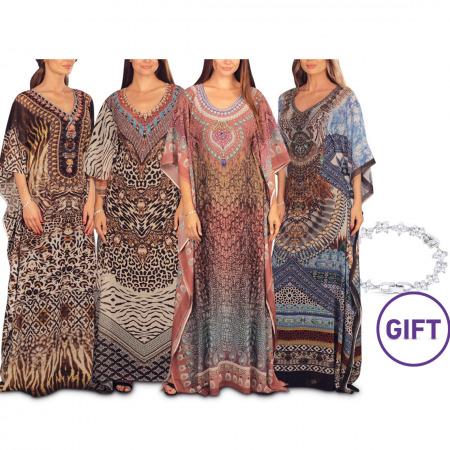 Lamia Printed Jalabiya - Pack of 4 & Gift
