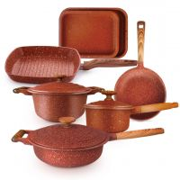 مجموعة أواني الطبخ المطلية بالجرانيت الأحمر 10 قطع