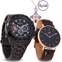 ساعة ميجا الرياضية باللون الأسود مع هدايا