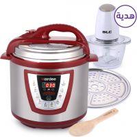 طنجرة الطهي بالضغط 6 لتر - أحمر مع هدية