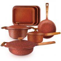 مجموعة أواني الطبخ المطلية بالجرانيت الأحمر