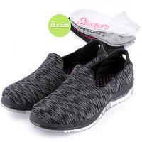 حذاء جو فلكس للسيدات من سكتشرز - أسود مع هدية
