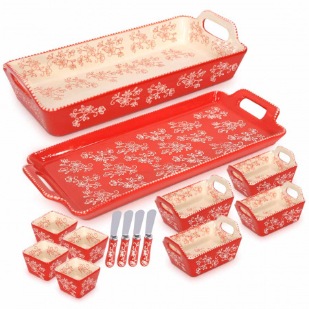 مجموعة صواني وأواني خبز 10 قطع مع 4 سكاكين مسطحة - أحمر