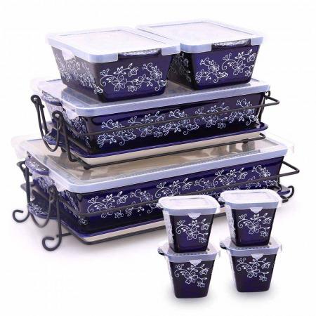 مجموعة صواني وأواني خبز فلورال لاس 20 قطعة - أزرق