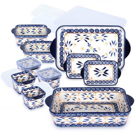 مجموعة صواني وأواني أولد ورلد - 10 قطع – أزرق