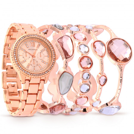 ساعة روكاوير كاميليا باللون الذهبي الوردي