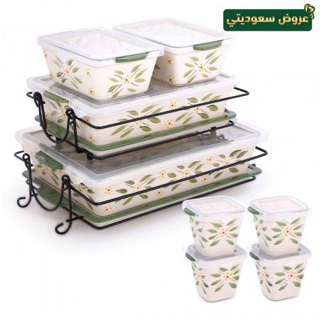 مجموعة صواني وأواني خبز 20 قطعة أولد ورلد - أخضر