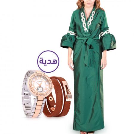 عباءة خضراء مُطرزة - مقاس L/XL مع هدية