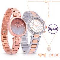 ساعة أومبري باللون الذهبي الوردي مع هدايا