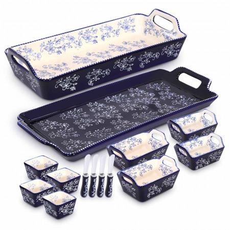 مجموعة صواني وأواني خبز 10 قطع مع 4 سكاكين مسطحة - أزرق