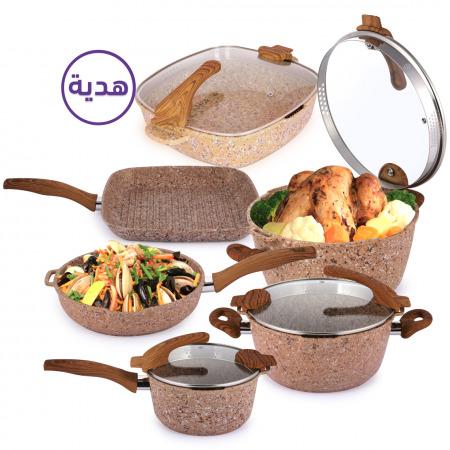 مجموعة أواني طهي فيوتشر مكونة من 8 قطع مع إناء للشوي هدية