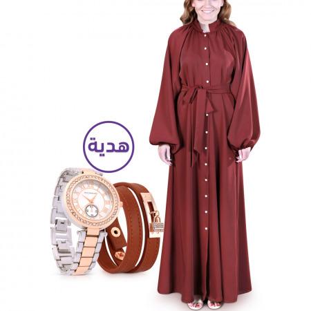 فستان ضحى باللون الأحمر الداكن - مقاس X/XL مع هدية