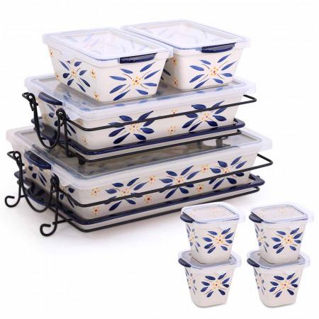 مجموعة صواني وأواني خبز 20 قطعة أولد ورلد - أزرق