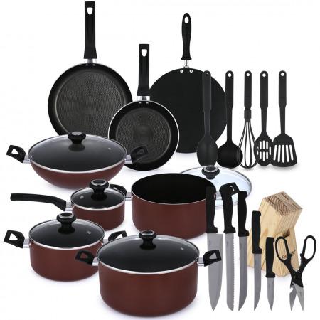 مجموعة أواني وأدوات طهي مقاومة للالتصاق مكونة من 25 قطعة