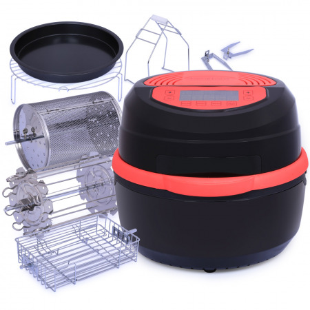 مقلاة هوائية سعة 11 لتر - أحمر/أسود