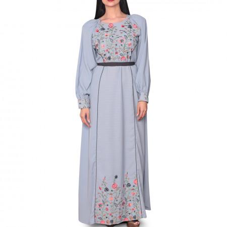 فستان حسناء المطرز باللون الأزرق - صغير/متوسط