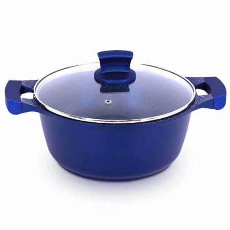 مجموعة أواني طهي جرانيت 9 قطع - أزرق غامق
