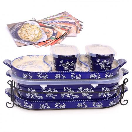 مجموعة أواني خبز سكوفال فلورال لاس أزرق- 6 قطع مع كتاب طهي