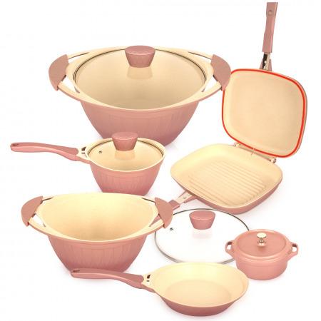 مجموعة أواني طهي مكونة من 8 قطع - وردي