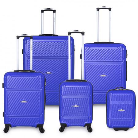 مجموعة حقائب سفر مكونة من 5 قطع  - أزرق
