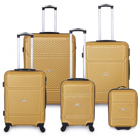 مجموعة حقائب سفر مكونة من 5 قطع  - ذهبي