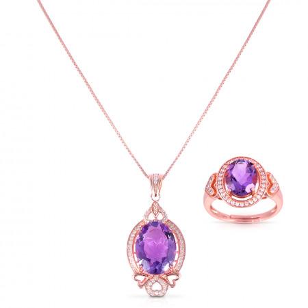 مجموعة مجوهرات الأماثيست الطبيعي من أراين