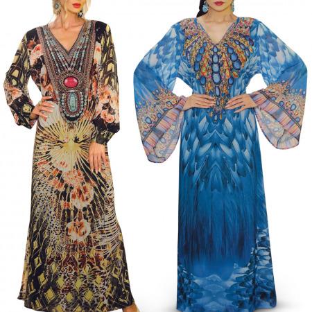 مجموعة جلابيات عبير من حرملك - قطعتين أزرق و متعددة الألوان