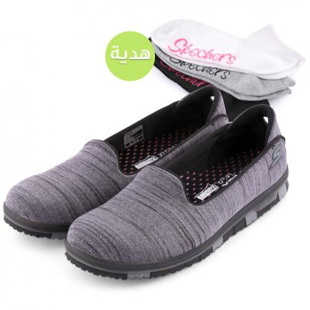 حذاء جو فلكس للسيدات من سكتشرز -  رمادي مع هدية