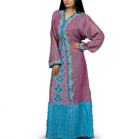 فستان فلكلوري أرجواني من مزيونة